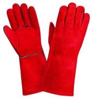 Краги спилковые пятипалые с подкладкой ТРЕК (красные, черные)