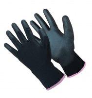 Перчатки нейлоновые с полиуретановым покрытием черные
