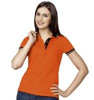 Рубашка поло женская с контрастными деталями и удлиненной спинкой