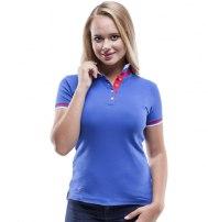 Рубашка поло женская с планкой на три пуговицы с двойным воротничком