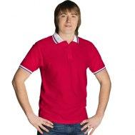 """Рубашка поло мужская на трех пуговицах c окантовкой """"триколор"""""""