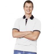 Рубашка поло мужская с контрастными деталями и удлиненной спинкой