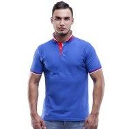 Рубашка поло мужская с планкой на три пуговицы с двойным воротничком